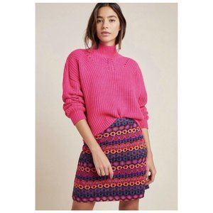 ANTHROPOLOGIE HUTCH 14 L Embroidered Mini Skirt